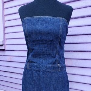 Strapless fitted body con denim dress by J Crew